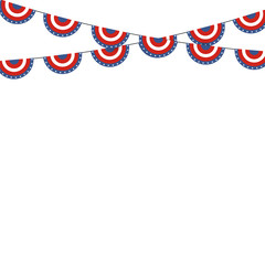 Patriotic symbolic decoration for holiday Usa. National flag col