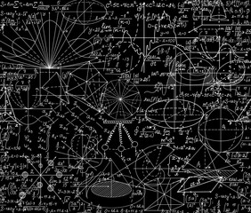 Beautiful vector mathematical vector seamless pattern with geometrical figures, formulas and equations, shuffled together. You can use any color of background