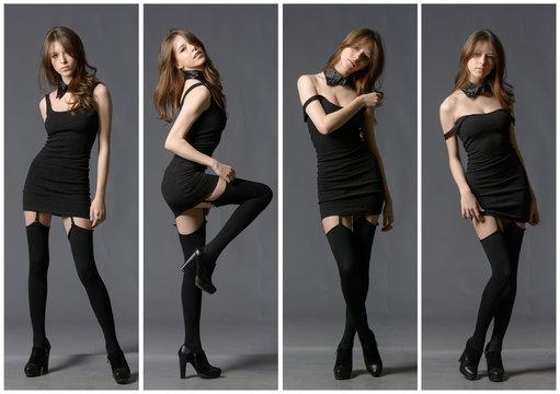Pretty woman in black mini skirt