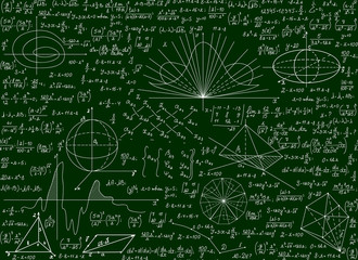 Mathematical vector scientific technical seamless pattern with handwritten formulas, calculations, equations on a green background