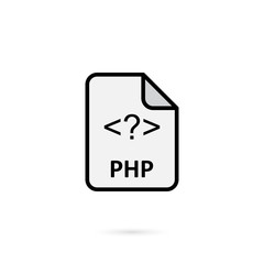 PHP file on white background vector