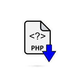 PHP file with blue arrow download button on white background vector