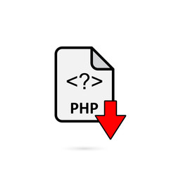 PHP file with red arrow download button on white background vector