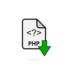PHP file with green arrow download button on white background vector