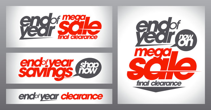 Mega sale posters collection, end of year savings banners set, final clearance