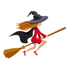 Cute redhead witch flying on a broom vector illustration isolated white background