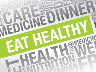 Eat Healthy word cloud vector concept presentation background