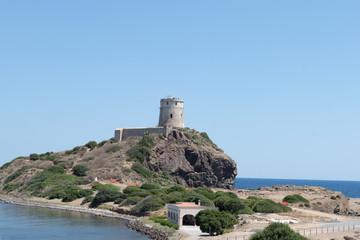 Ancient spanish tower of Coltellazzo, Nora, Pula, Sardinia, Italy