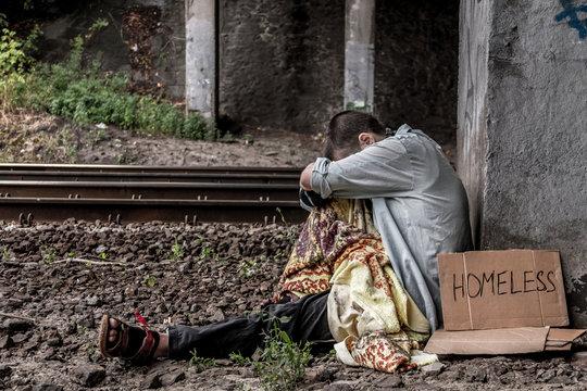 Poor homeless woman