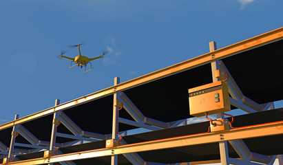 3D illustration of a UAV drone inspecting a conveyor. Fictitious conveyor assembly; lens flare, depth-of-field and motion blur for dramatic effect.