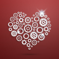 Vector mechanical steampunk valentine's heart