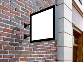 Hanging wall sign mockup, square billboard, stock image, brick wall, 3d rendering