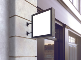 Hanging wall sign mockup, square billboard, stock image, 3d rendering