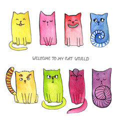 "Cartoon and funny watercolor smiling cat with quote ""welcome to my cat world"""