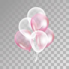 Pink transparent balloon on background.