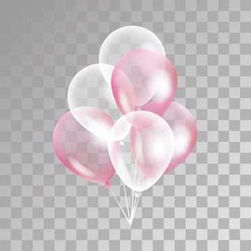 Pink transparent balloon on background.