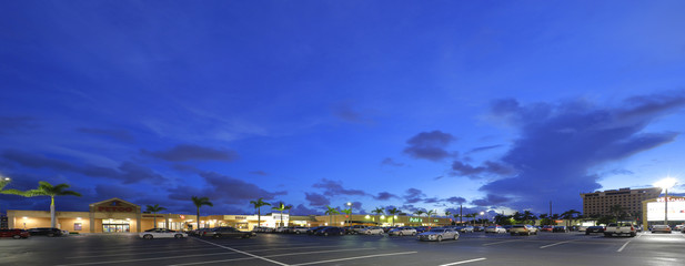 Shopping center at twilight with beautiful blue sky