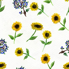 Seamless pattern with flowers and berries