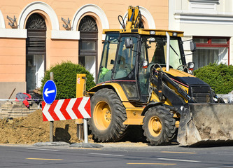 Road construction in the city