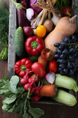 Fresh produce in wood crate