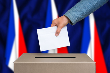 Election in France - voting at the ballot box