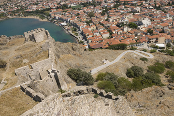 Lemnos island (Limnos), Myrina city bay view from old castle