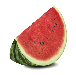Thick watermelon piece isolated on white background