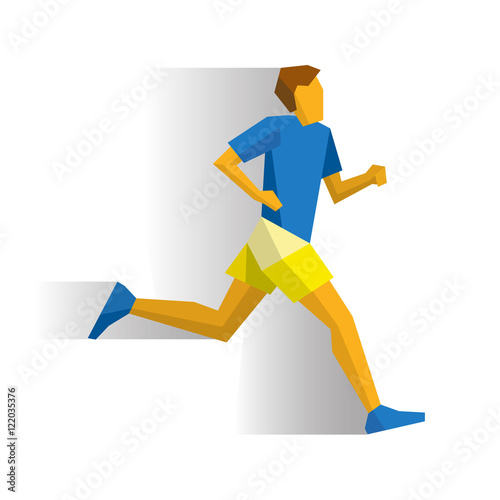Marathon Runner Athlete Isolated On White Background With Shadows Track And Field