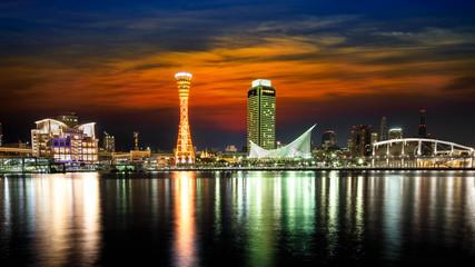 Port of Kobe at sunset in japan