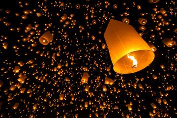 Floating lantern yi peng firework festival in chiangmai thailand