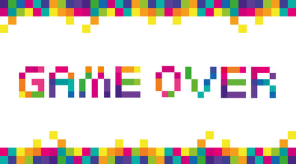 Game Pixel Color. Vector stylized letters of the phrase text Game Over full-color pixels