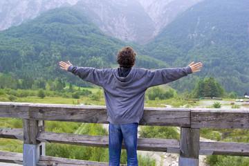 Happy boy in the julian alps