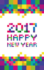 Vector stylized inscription 2017 New Year full-color pixels