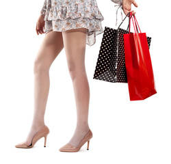 Woman legs wearing high heels  on shopping