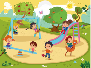 Children on the playground vector.