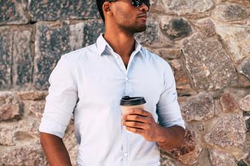 Man enjoying fresh coffee.