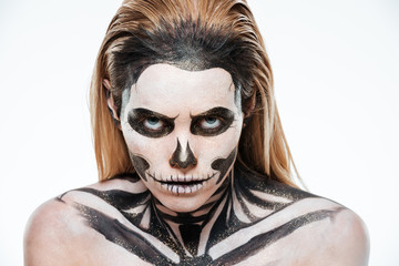 Portrait of woman with terrifying halloween makeup