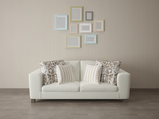 Angle couch with empty frame on fabric texture background.