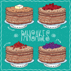 Set of different thin pancakes, with slice of butter, red berries, cherry or currant, red caviar, blue berries, blueberry or currant. Handmade cartoon style