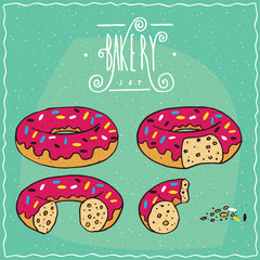 Set of pink glazed donuts in different stages of eating, New, One bite, Part of donut, One piece with crumbs. Ornate lettering bakery. Handmade cartoon style