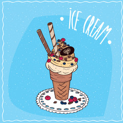Great waffle cone with vanilla ice cream, sweet tubes, wild berries and chocolate chips, is on the lacy napkin. Blue background. Handmade cartoon style