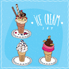 Ice cream set contains differents waffle cones with vanilla or fruit and chocolate ice cream, with berries, chocolate chips and cookies. Handmade cartoon style