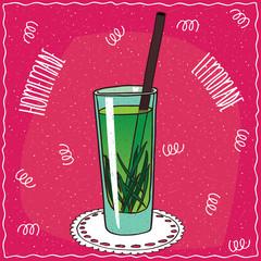 Homemade tarragon lemonade in a glass with straw, lie on lacy napkin. Magenta background. Handmade cartoon style