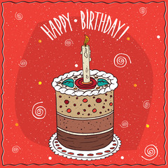 Perfect cake round shape with burning candle, with several layers, lie on lacy napkin. Happy birthday concept. Handmade cartoon style