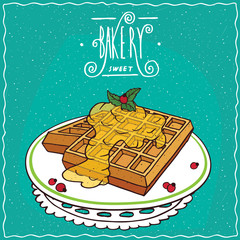 Belgian waffles with honey on plate, lie on lacy napkin. Cyan background and ornate lettering bakery. Handmade cartoon style