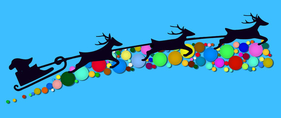 Santa Claus is flying in a sleigh pulled by reindeer, vector design element