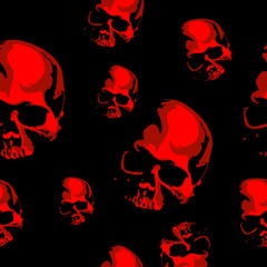 Haloween scary seamless vector background with the skull