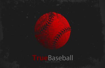 Baseball logo. Baseball ball design. Grunge logo. Sport logo