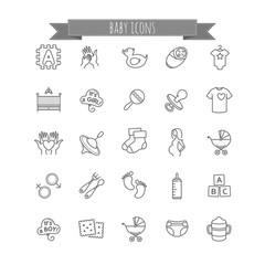 baby icons - stock vector set
