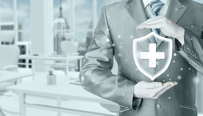 Health protection and insurance. Medical healthcare. Business in health safety. Office background.